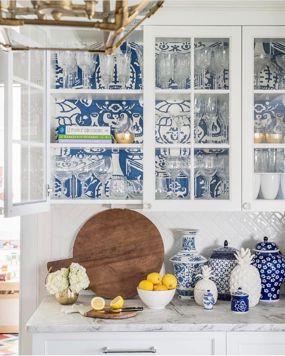 See This Instagram Photo By Sheleavesalittlesparkle 311 Likes Kitchen Wallpaper Wallpaper Shelves Glass Kitchen Cabinets