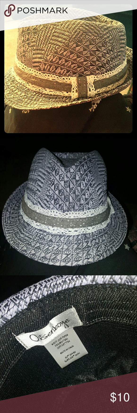 Cute paper fedora with cotton lace band! I got this hat on Posh, it is adorable but doesnt look adorable on me so i am reluctantly reposhing. Although the label says that the body of this hat is constructed entirely of paper, you wouldn't be able to tell, it feels pretty durable. I dont recall if it was new or used when i purchased it but it is in pristine condition. It needs a new loving home! Olsenboye Accessories Hats