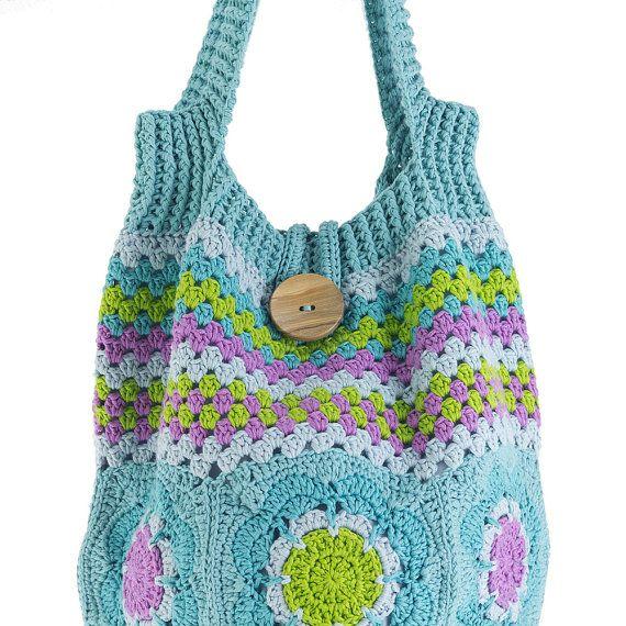 en crochet Patrón color de flores de de 50 Bolso bandolera lleno qnYfwqpX