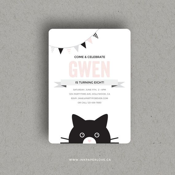 Custom printable cat birthday party invitation with a modern edge custom printable cat birthday party invitation with a modern edge for cat kitten lovers and kids that love cats filmwisefo Image collections