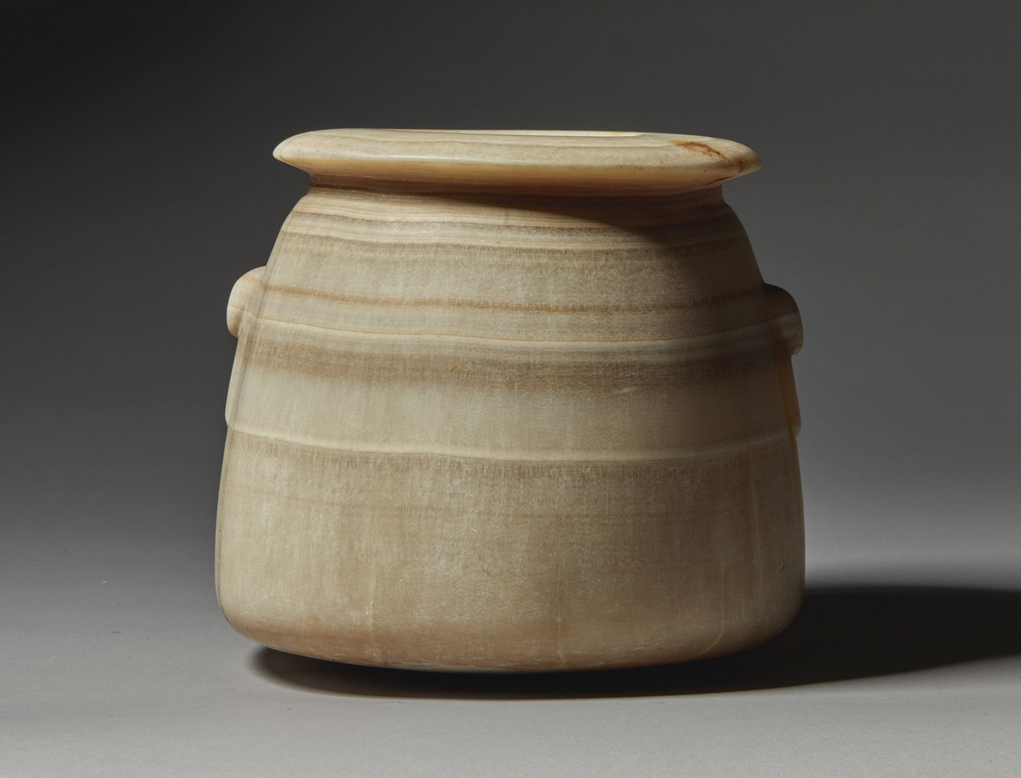 A Large Egyptian Banded Alabaster Jar 26th 30th Dynasty 664 342