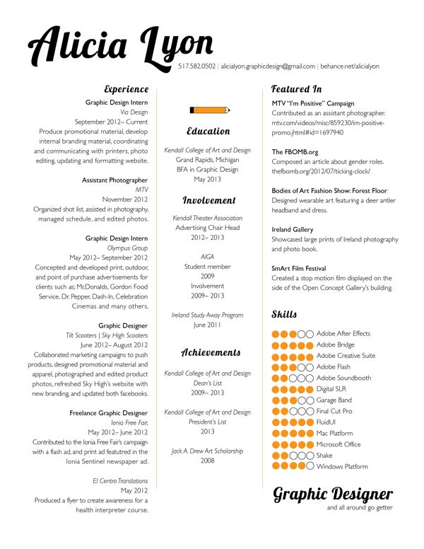 Example Graphic Design Resumes  Resume Design Examples