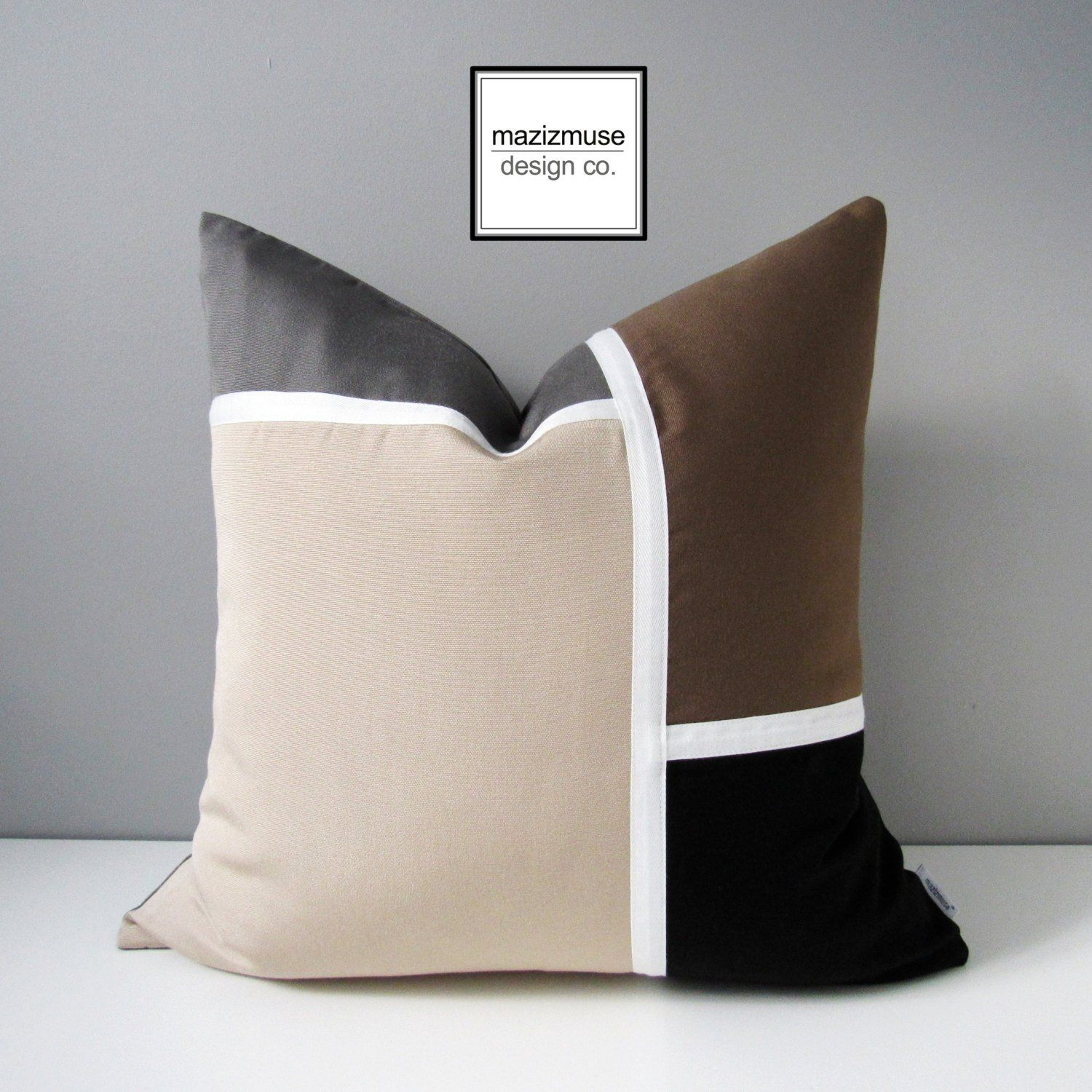 beige grey pillow cover