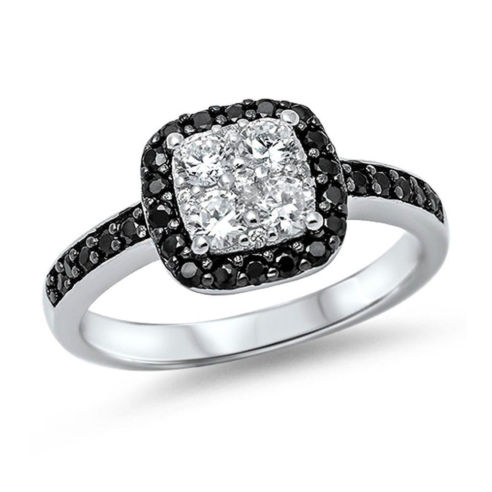 Clear round black cz square shape engagement sterling