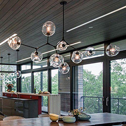 Modern Industrial Chandelier Metal Glass LED Branch Chandeliers Pendant Lamp Light DIY Ceiling Fixtures for Living Room Dining Room Lamps (10 Light