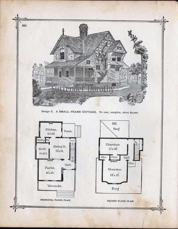 Small Cottage House Plans 1881 Antique Victorian Architecture Print To Frame Cottage House Plans Small Cottage House Plans Small Cottage Homes
