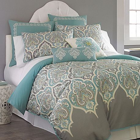 3 Pc Queen Teal Gray Comforter Set Aqua Blue Grey Medallion