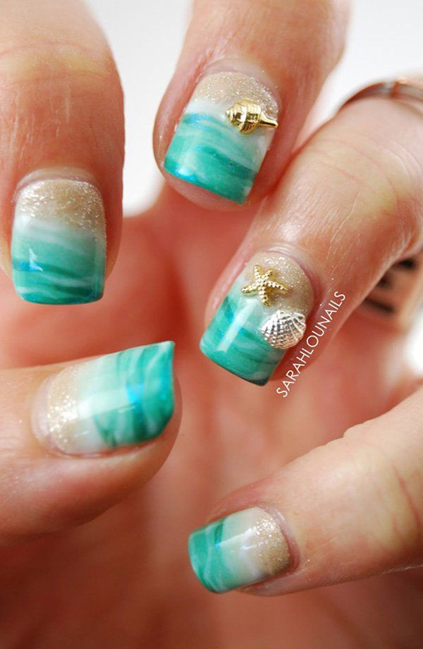 Turquoise blue – my favorite summer shade. - 45 Ocean Nail Art Ideas Beauty Pinterest Ocean Nail Art