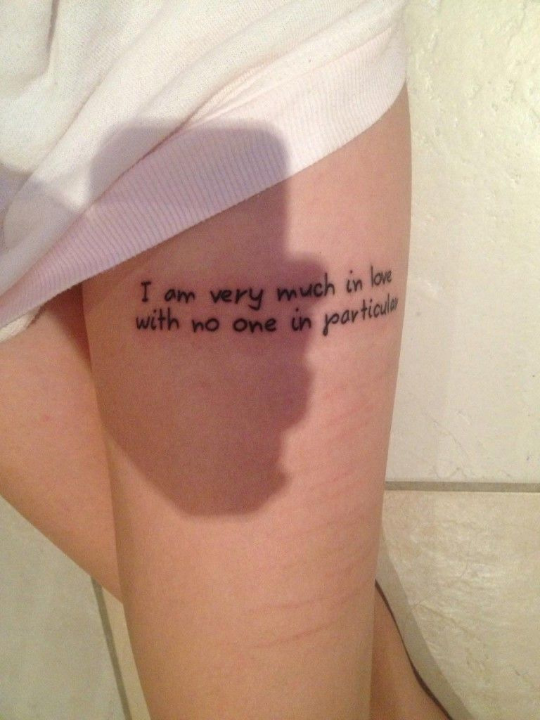 Beautiful leg quote tattoos for females women 3d