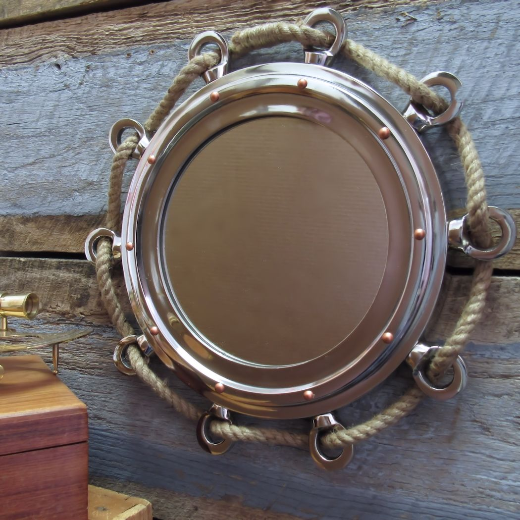 16 Inch Nickel Porthole Mirror With Rope
