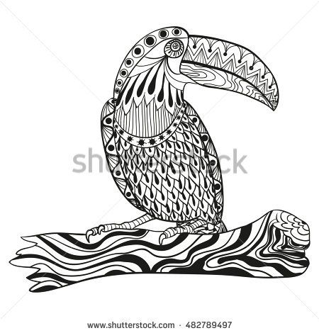 Stylized Toucan Bird Sitting On A Tree Branch Freehand Sketch For Adult Anti Stress Coloring Book Page With Doodle And Zen Tangle Elements