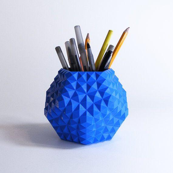 Blue Pen Cup Boy Desk Decor Geometric