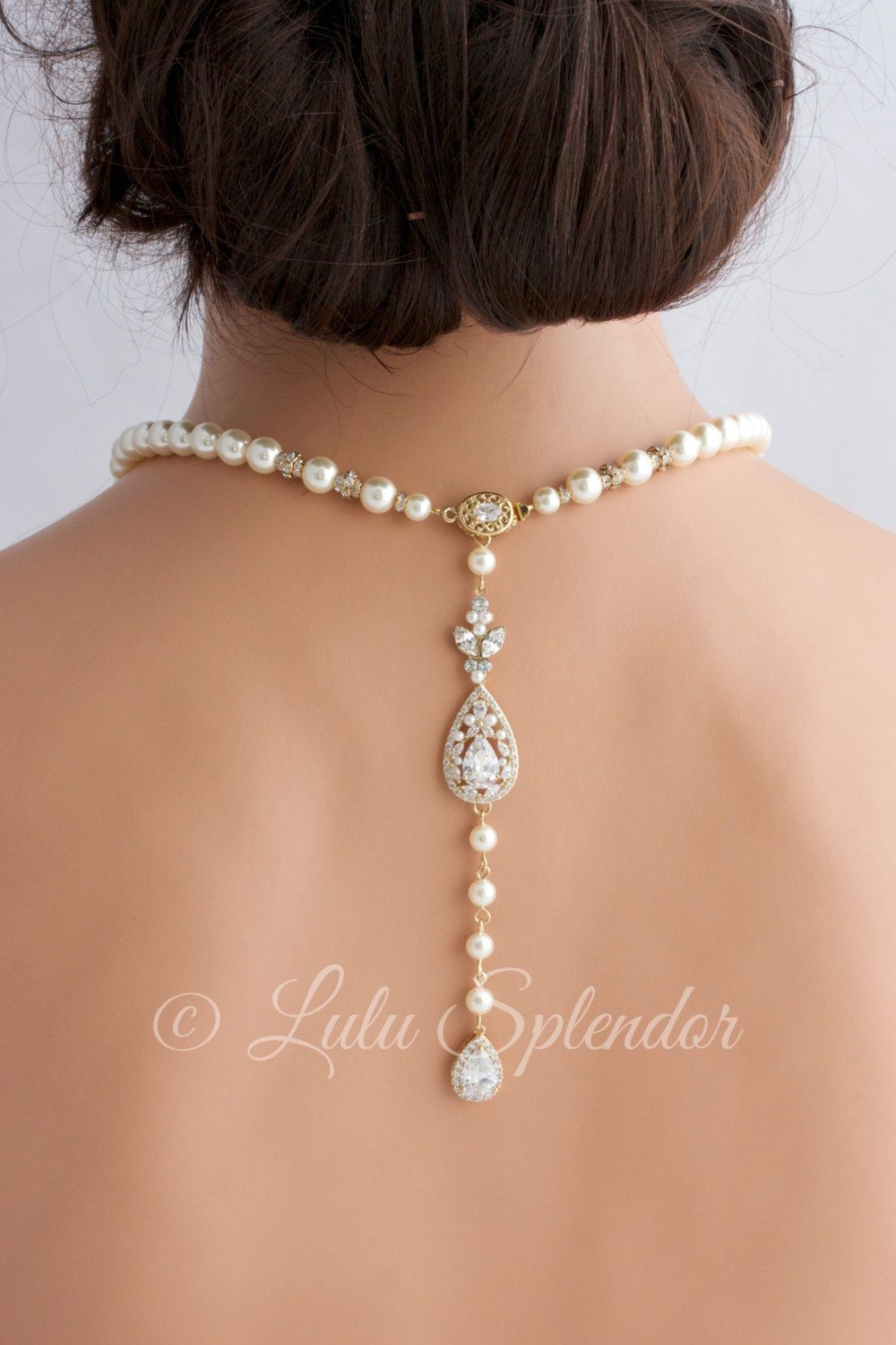 Gold backdrop necklace wedding jewelry pearl back drop bridal