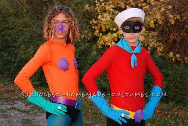 Mermaid Man and Barnacle Boy 11 DIY Couples Halloween Costumes - creative couple halloween costume ideas