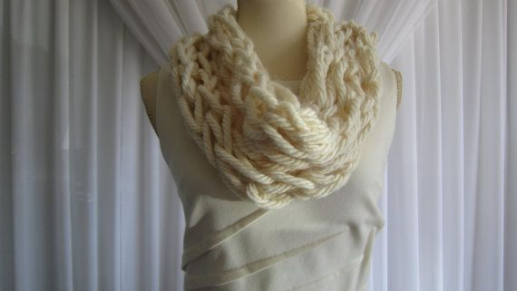 Check out this item in my Etsy shop https://www.etsy.com/ca/listing/246430861/scarf-arm-knit-cream-scarf-ivory-cowl