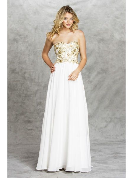 APL1412. WHITE/GOLD. Floor Length A-Line Prom Dress has Sweetheart ...