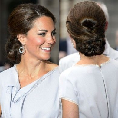 Kate Middleton with a sleek chignon hairstyle