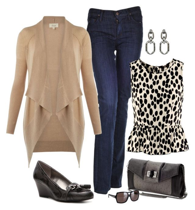 """Weekend Look"" by fiftynotfrumpy ❤ liked on Polyvore featuring Citizens of Humanity, H&M, Linea Weekend, Liz Claiborne, Danielle Nicole, Giles & Brother, Burberry, peplum tops, wedge heel shoes and waterfall cardigans"