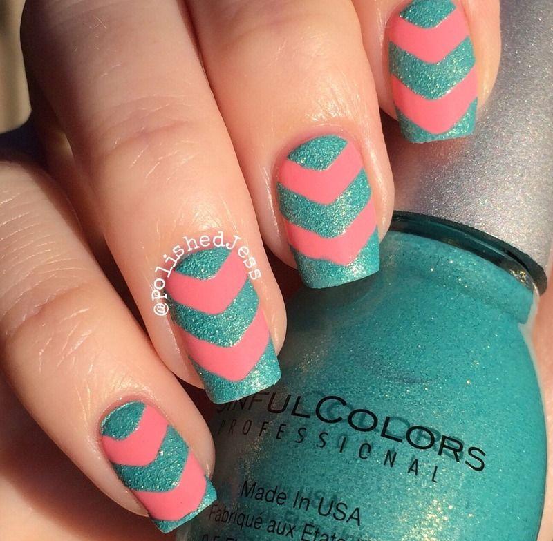 cute and edgy chevron nail arts