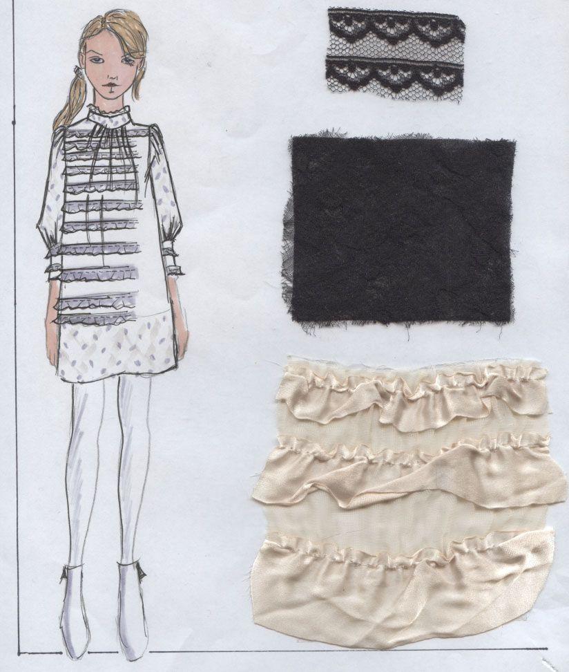 Ruffled dress w/ swiss dot trims/slvs.