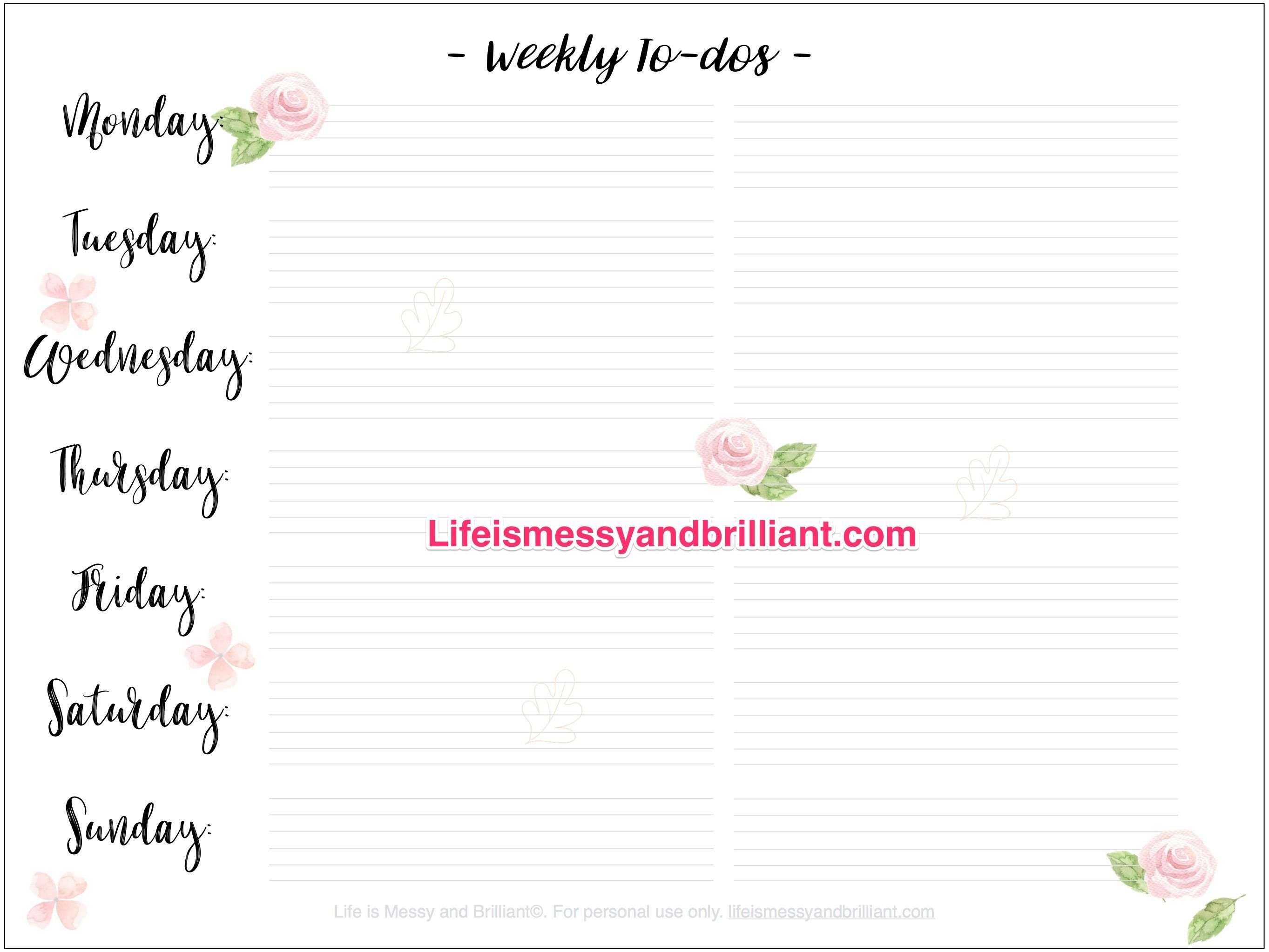 Free Weekly To Dos Bullet Journal Printable Planners Printables