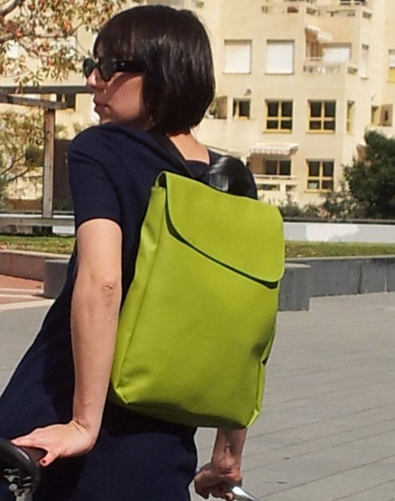 Green+Faux+leather+Backpack+Laptop+bag+School+Bag+by+TahelSadot,+$76.00