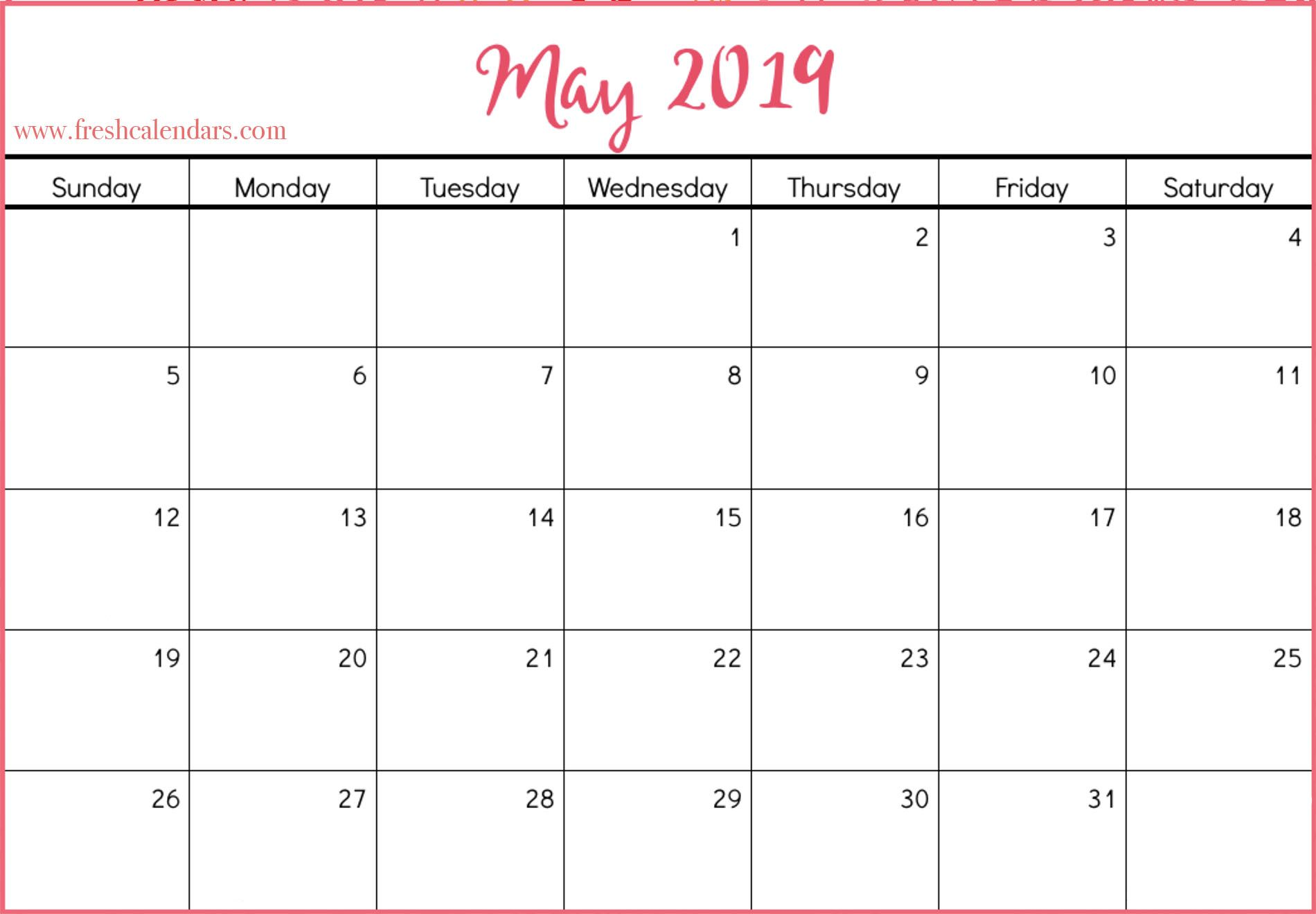 Blank May Calendar Printable Templates