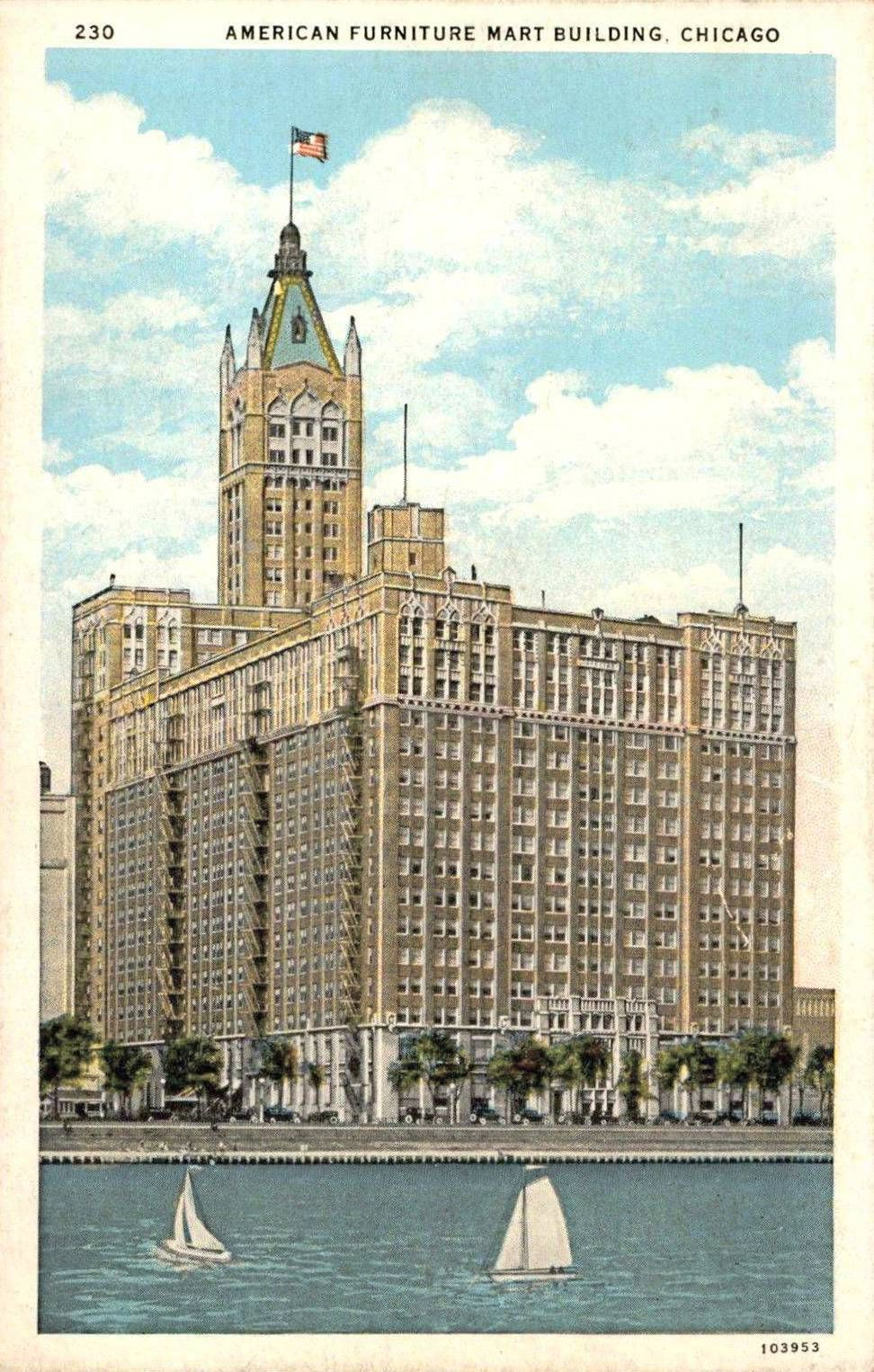 Beau POSTCARD   CHICAGO   THE AMERICAN FURNITURE MART   666 LAKE SHORE   SEEN  FROM LAKE