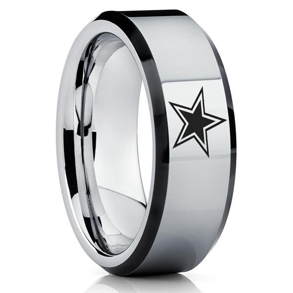 Tungsten Carbide Ring Football Inspired Ring Dallas Ring Tungsten Wedding Band Tungsten Mens Rings Dallas Cowboys Rings Cowboy Jewelry