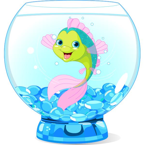 Happy Fish In A Bowl Cartoon Fish Cute Cartoon Fish Cartoon Sea Animals