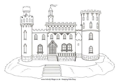 Castle drawing template view and print castle colouring page pdf file