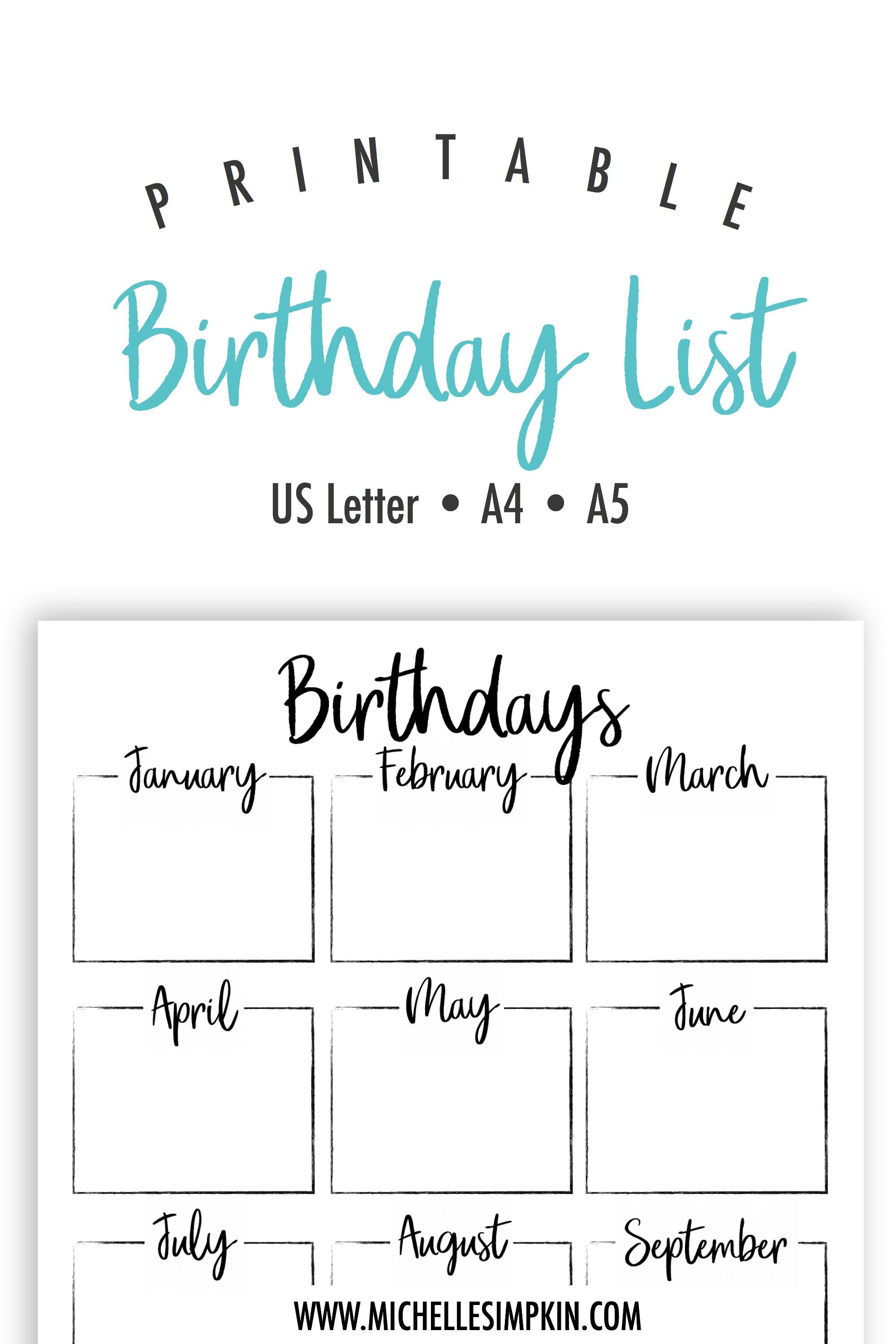 photograph about Birthday List Printable called Pin upon Craft house