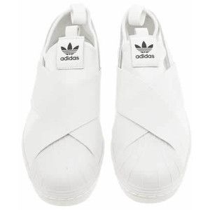 Womens White Adidas Superstar Slip On Trainers