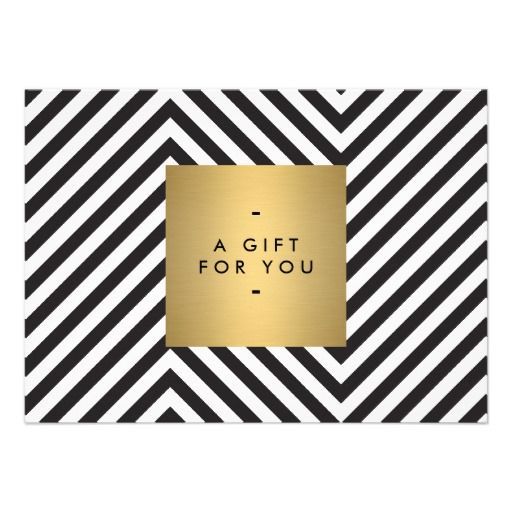 Retro black and white pattern gold name gift cert invitation gift retro black and white pattern gold name printed gift certificate template two sided full color click to personalize the back side with your own info yadclub Gallery