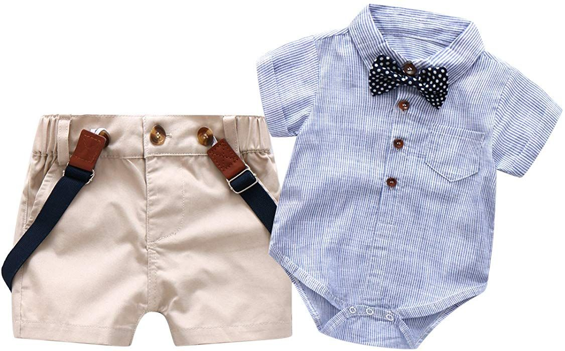 ff0e6d7f7 Amazon.com  Baby Boys Short Sleeve Gentleman Outfits Suits