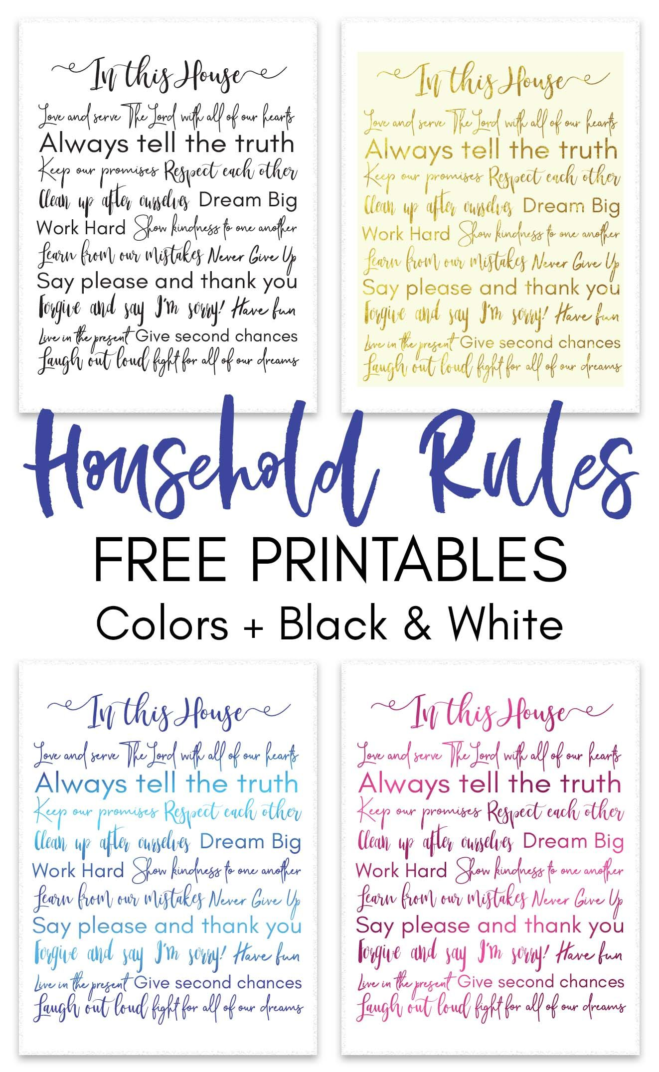Printable Household Rules  Cleaning Checklist