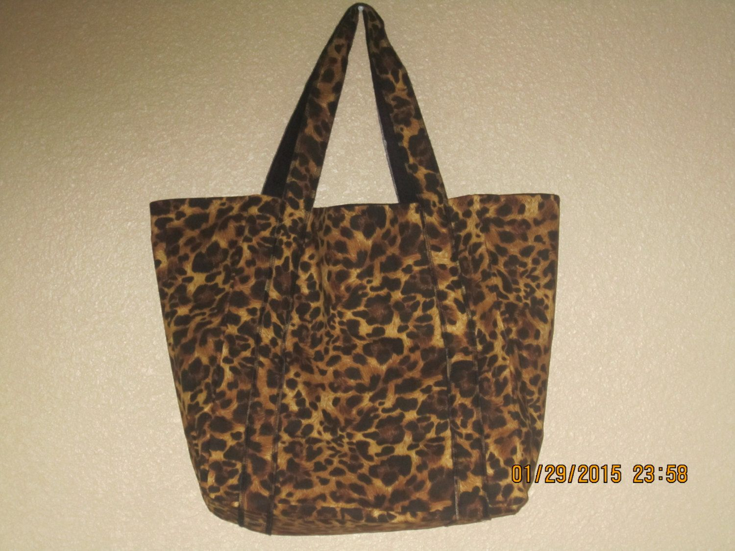 """Double Extra Large Durable 15.5"""" Grocery Shopper Market Tote Bag BROWN & BLACK CHEETAH Leopard by ShawnasSpecialties on Etsy"""