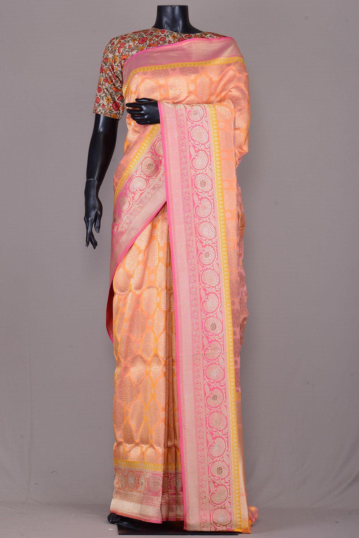 Yellow silk saree pink u yellow dual tone zari woven banarasi silk saree vg