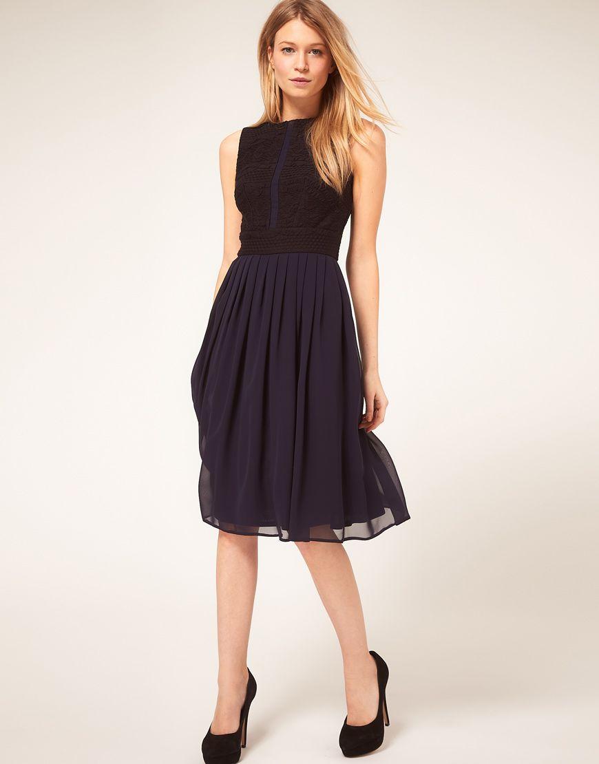 71db492bfb43 ASOS PETITE Midi Dress With Chiffon Skirt And Zip Back $85.94 ...