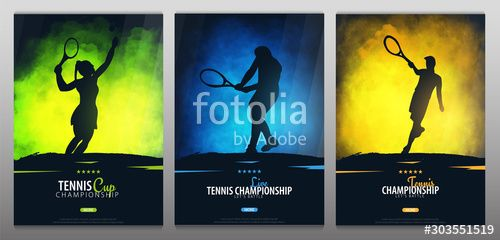 Set of Tennis Championship banners or posters design with players and racquet Vector illustration