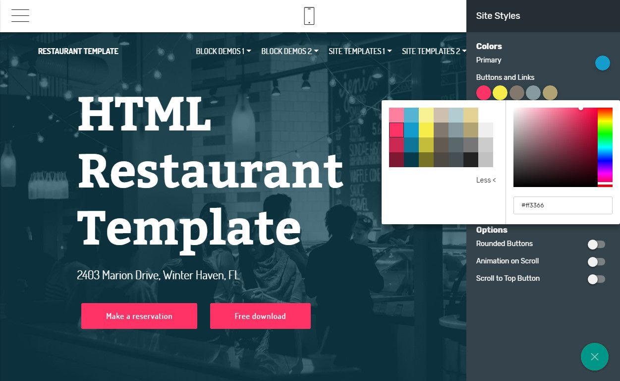 Mobirise Restaurant Website Template Maker V4 5 2 Restaurant Website Template View The Demo Http Restaurant Website Templates Bootstrap Template Templates
