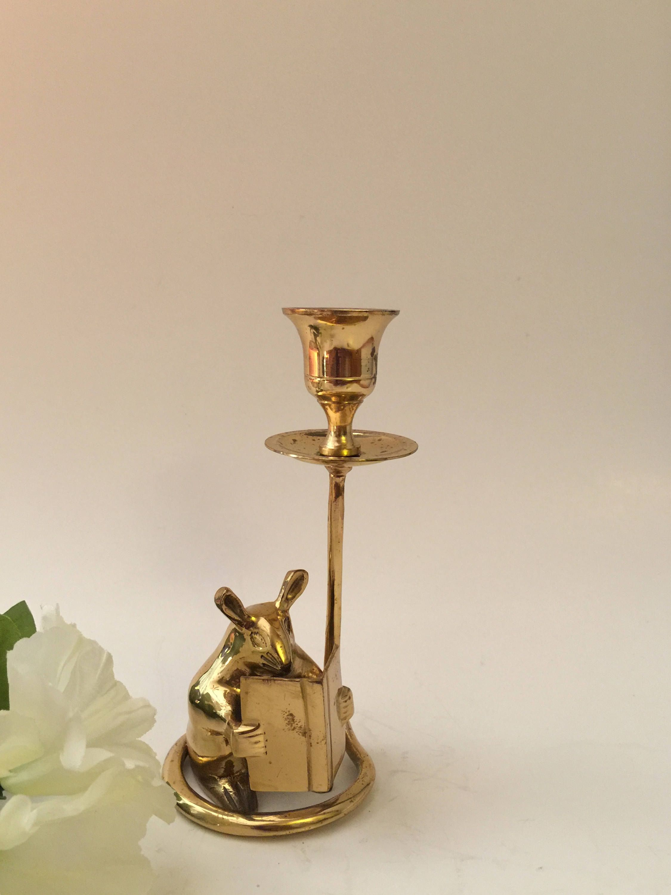 """Brass Candle Holders 3-1//2/"""" High 2-7//8/"""" Base  BOX OF 4"""