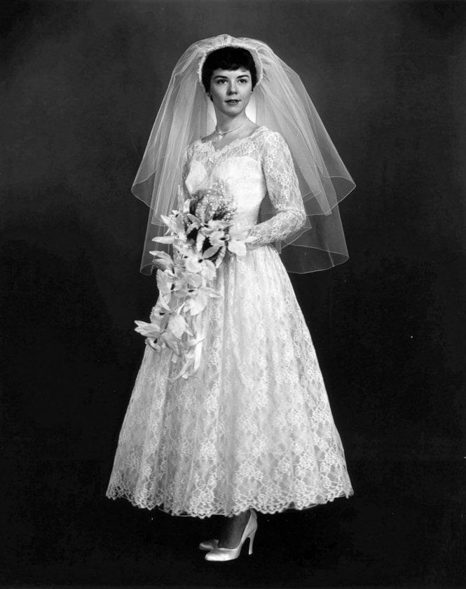 Brides bridesmaids grooms wedding dresses cleveland for 1960 style wedding dresses
