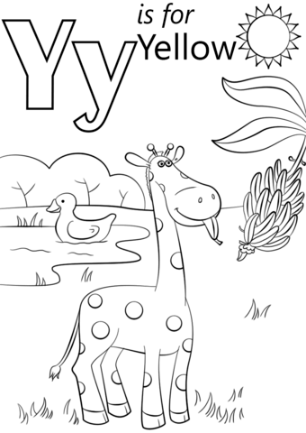 Letter Y is for Yellow coloring page from Letter Y