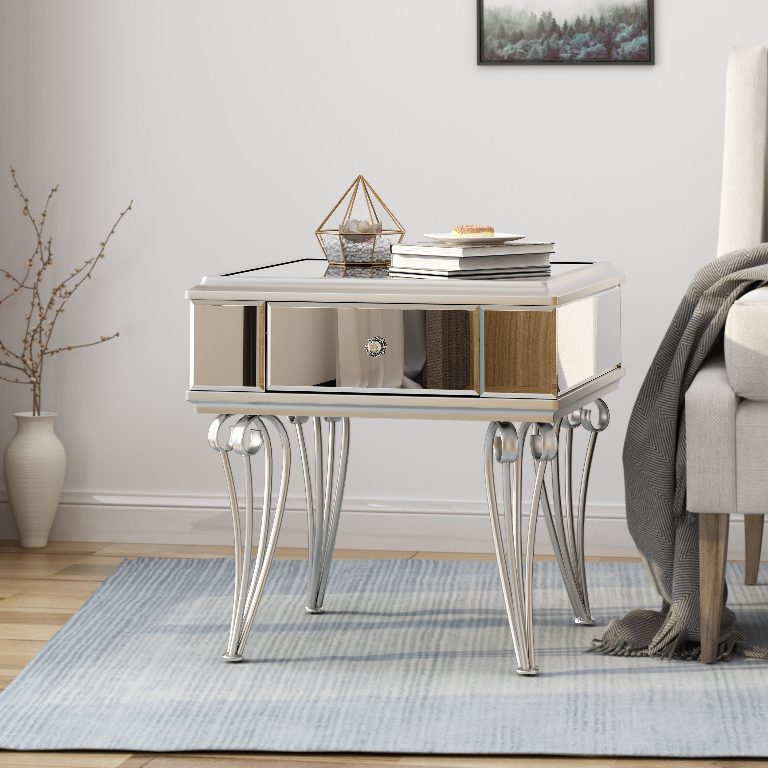 Mamie Modern Mirrored Accent Table With Drawer Tempered Glass In 2021 Mirrored Accent Table Accent Table Table Modern accent tables for living room