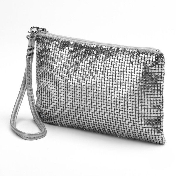 Lenore by La Regale Mesh Chain Wristlet (Grey) ($32) ❤ liked on Polyvore featuring bags, handbags, clutches, grey, gray purse, mesh handbags, grey purse, chain handbags and chain purse