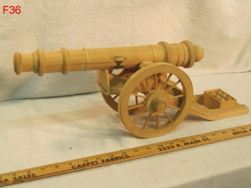 VINTAGE BALSA WOOD CANNON MILITARY MODEL FOLK ART HAND MADE PIECE AWESOME COOL!!!!  REALLY NEAT ITEM!!!!  ON AUCTION THIS WEEK!!!!