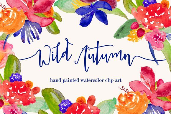 Wild Autumn Watercolor Clip Art By Bella Love Letters On