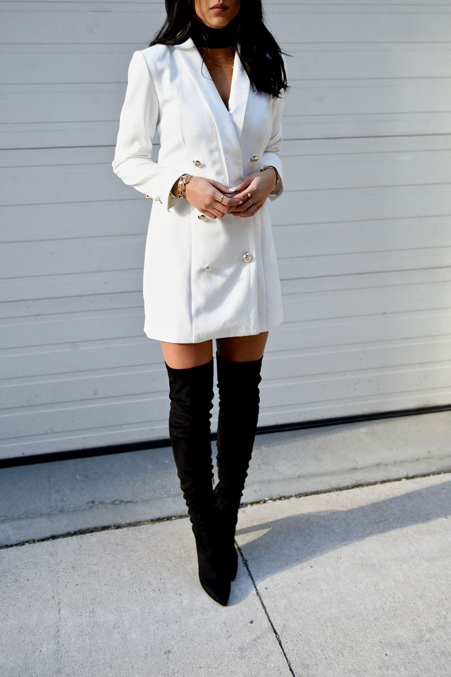 White Blazer Dress & Thigh High Boots outfit Fashion