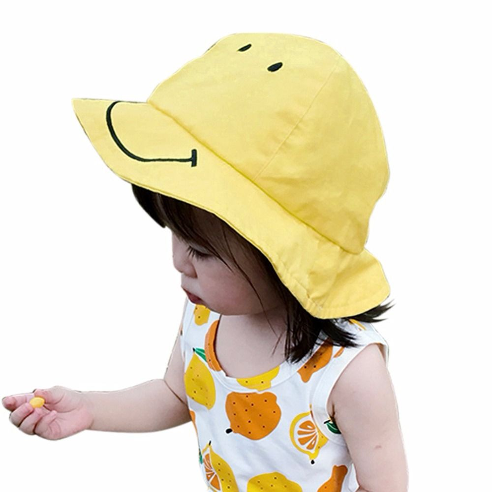 363156b7cea Click to Buy    Summer Cute Smile Print Cute Baby Girls Boys Solid Hat  Fashion Sun Hat Bucket Hats Casual Head Wear  Affiliate.